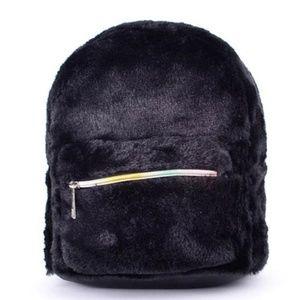 Handbags - NEW black mini fur backpack
